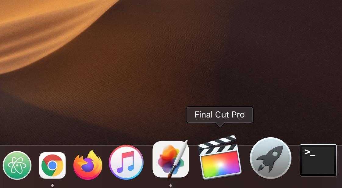 Final Cut Pro X in Dock